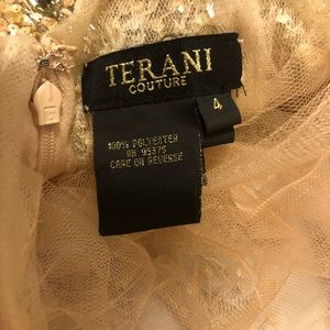 Terani Couture Sequin Nude Prom Dress